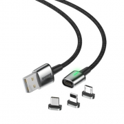 Кабель Baseus Zinc Magnetic Cable Kit(iP+Type-C+Micro) 2m black