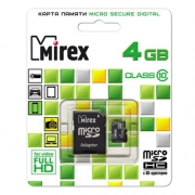 Mirex microSDHC Class 10 4GB + SD adapter
