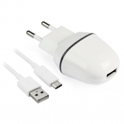 Сетевое зарядное устройство SmartBuy Nova MKII 2A 1xUSB + кабель Type-C White