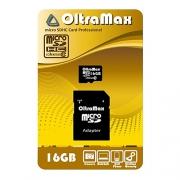Карта памяти OltraMax microSDHC Class 10 16GB + SD adapter
