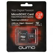 Карта памяти Qumo microSDXC Class 10 UHS Class 1 128GB + SD adapter
