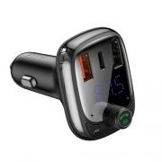 Автомобильное зарядное устройство Baseus T typed Wireless MP3 charger with car holder PPS Quick Charger Black CCTM-B01